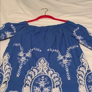 Blue and white lace off the shoulder top